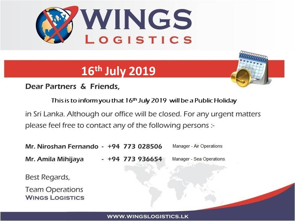 Holiday Notice - WINGS Logistics WINGS Logistics